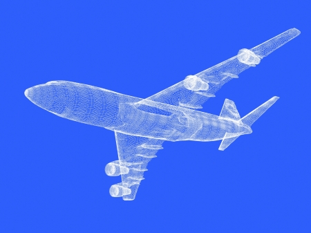 model of jet airplane on blue background Stock Photo
