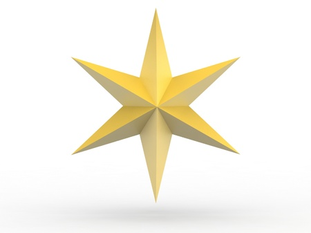 jewish star: Gold Christmas star isolated over a white background Stock Photo