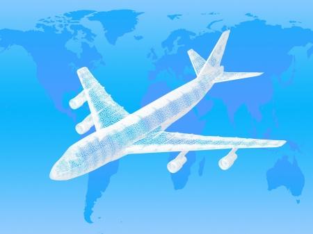 model of jet airplane on worldmap background. Concept - global travel. photo