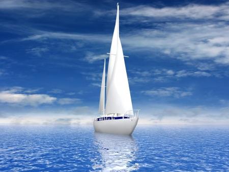 Sailing luxury yacht Stock Photo
