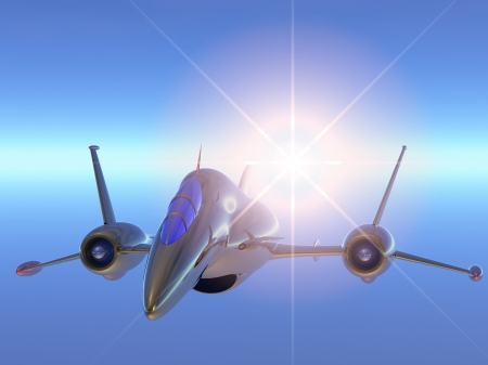 modern flying jet airplane on beautiful blue sky with sun photo