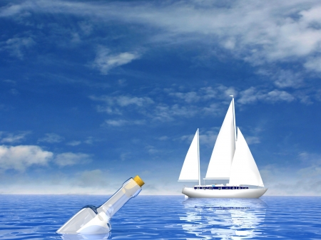 3d boat: Sailing luxury yacht and bottle with letter Stock Photo