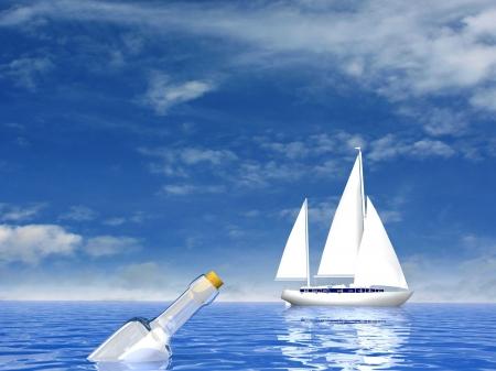 yacht de luxe de voile et la bouteille avec la lettre