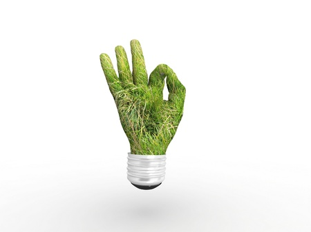 3D lightbulb - hand OK with grass. Concept - eco energy. photo