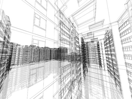 architectural drawing: Abstract architectural 3D construction. Concept - modern architecture and designing.