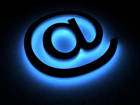 web address: Abstract E-mail symbol in the neon light