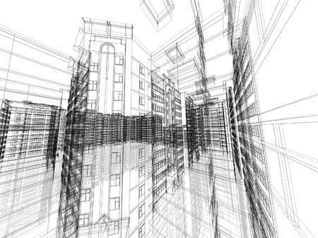 Astratto costruzione architettonica 3D. Concetto - architettura moderna e la progettazione. Archivio Fotografico - 20536089