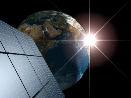Solar panel against Earth with sunrise. Concept - echo energy. photo