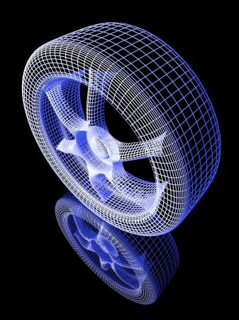 3D-model van het wiel met reflectie Stockfoto