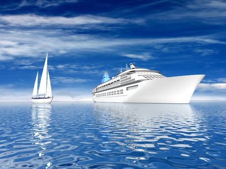 Big ship and sailing luxury yacht on beautiful seascape photo