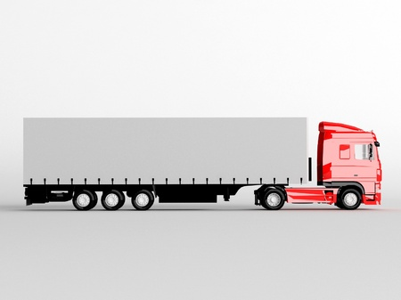 red truck isolated on gray