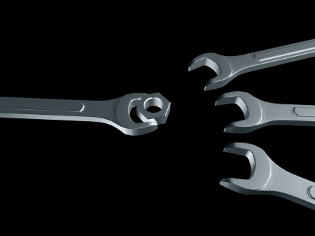 Spanners and nut on black - 3D illustration illustration