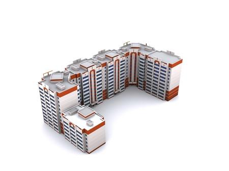 Modern building on white background, 3D render.