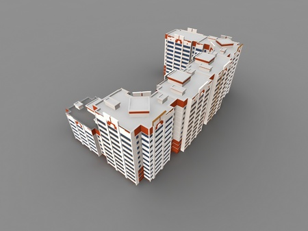 Modern building on gray background, 3D render. photo