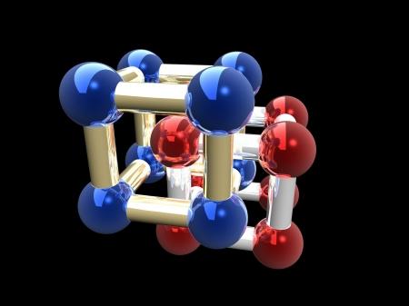 Ñrystalline lattice of molecule, 3D render. Stock Photo - 21253888