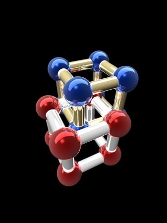 Ñrystalline lattice of molecule, 3D render. Stock Photo - 21253892