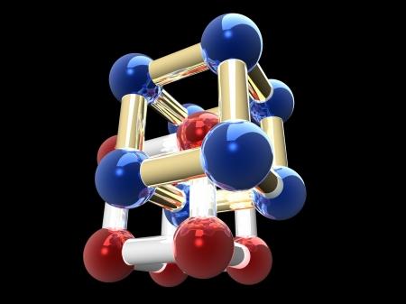 �rystalline lattice of molecule, 3D render. photo