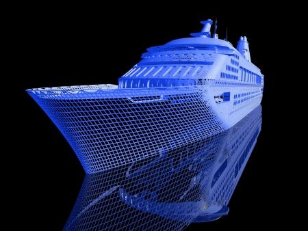 Luxus-Yacht-Modell isoliert auf schwarzem Hintergrund Standard-Bild - 21741537