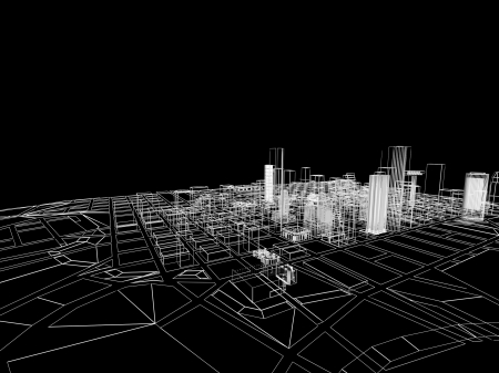 3D abstract city. Concept - modern architecture and designing. photo