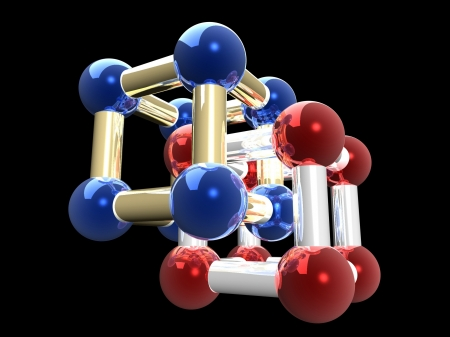 �rystalline lattice of molecule, 3D render. photo