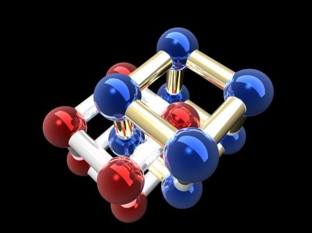 Ñrystalline lattice of molecule, 3D render. Stock Photo - 22091520