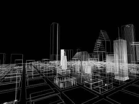 3 D の抽象的な都市。モダンな建築と設計コンセプト。