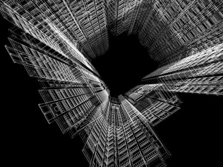 抽象的な建築の 3 D 構造。モダンな建築と設計コンセプト。 写真素材
