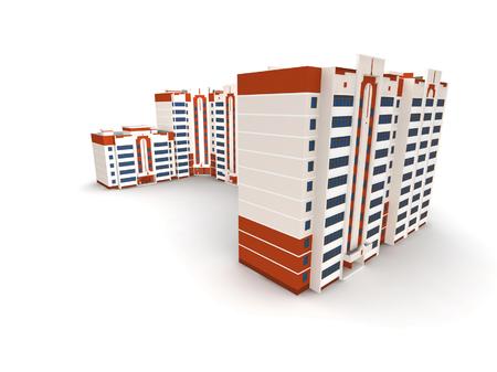 Modern building on white background, 3D render. photo