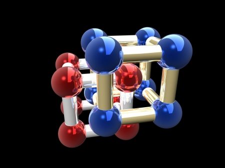 Ñrystalline lattice of molecule, 3D render. photo
