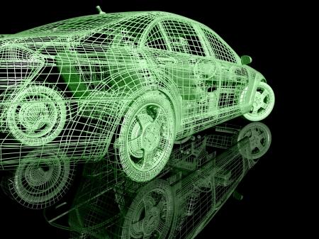 3D-model van de auto op een zwarte achtergrond met reflectie
