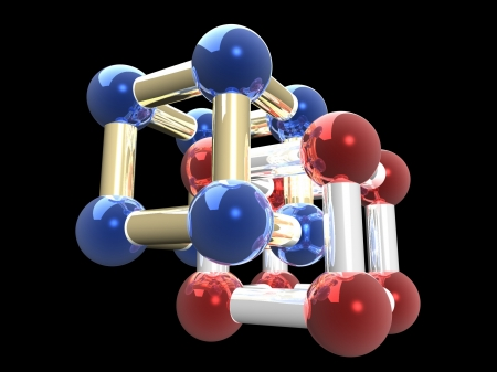 �rystalline lattice of molecule, 3D render. Stock Photo - 23196783
