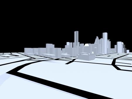 3D abstracte stad. Concept - moderne architectuur en ontwerpen.