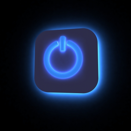 Power button lighting in darkness, 3D render. photo