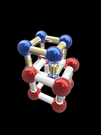 �rystalline lattice of molecule, 3D render. Stock Photo - 23789926