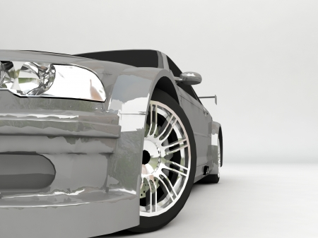 3D Sportcar isolated on gray background photo