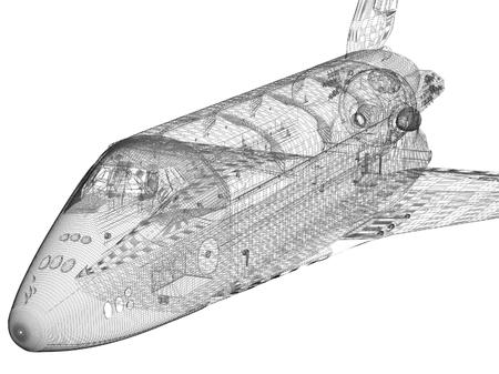3D-model van de achtergrond moderne jet ruimteschip onwhite
