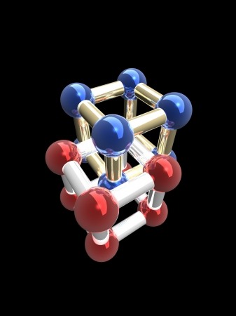 Ñrystalline lattice of molecule, 3D render. Stock Photo - 24492203