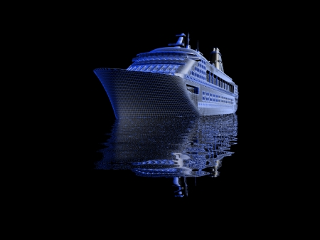 luxury yacht model isolated on black background photo