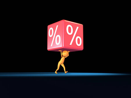 white interest rate: 3D human take a big percent. Stock Photo
