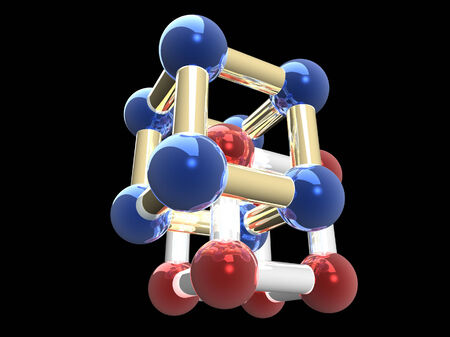 �rystalline lattice of molecule, 3D render. Stock Photo - 24492432