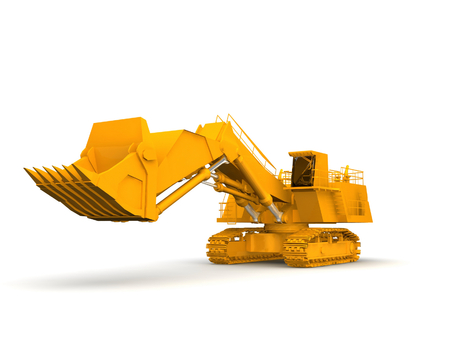 bulldozer-excavator isolated on white photo