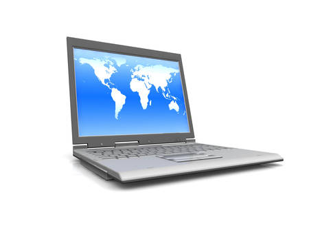 professional Laptop isolated on white background with world map photo