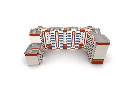 Modern building on white background, 3D render. photo