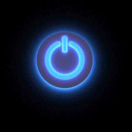 3D power button lighting in darkness. Stock Photo