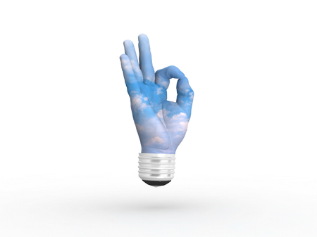 3D lightbulb - hand OK with sky. Concept - eco energy. photo