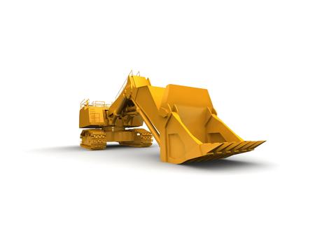 bagger: bulldozer-excavator isolated on white