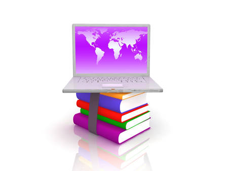 Professional Laptop with books photo