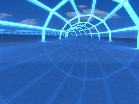 3D tunnel in the airport hall perspective view photo