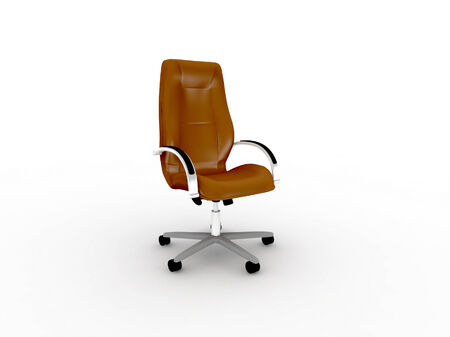easy chair: brown leather office easy chair Stock Photo