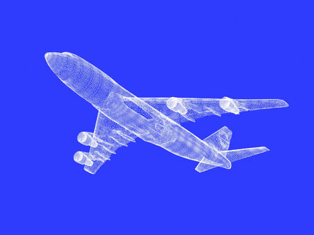 model of jet airplane isolated on blue Stock Photo